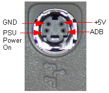 The ADB port. Clockwise from top left, GND, 5V, ADB, PSU Power On