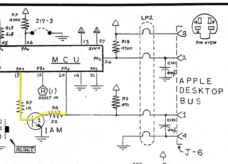 EGRET pin 19 diagram. It flows through a transistor and then into the ADB data pin.