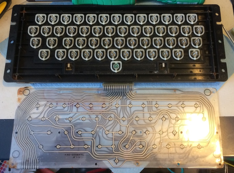The membrane is removed from the keyboard. You can see several shiny springs for each key.