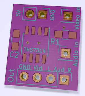 The prototype board as seen from KiCad. It's very simple, with only a 'video in,' 'audio in,' and 'power in' pinout which then goes to the THS7314 chip.