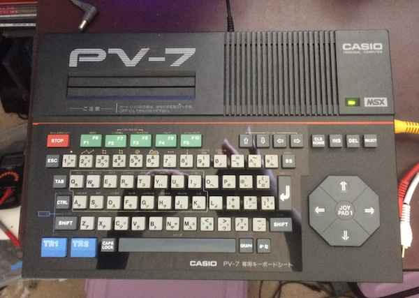 The PV-7, reassembled, with the exposed keyboard overlay looking nice and shiny.