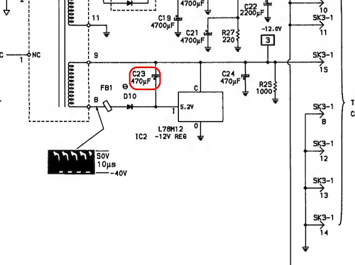 C23 capacitor in the power supply schematic. It is 470uF and on the -12V line which sees an input wave of 50V to -40V and then feeds into an L78M12 -12V regulator chip.