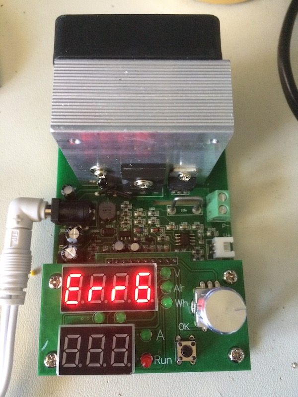 Power supply load tester says Err6