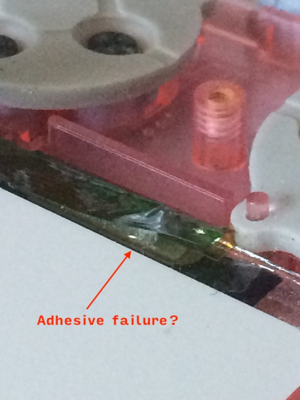 LCD failure, glue is separating on the layers of the LCD cable